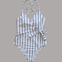 2019 Sexy Stripes Swimwear Women Praia One piece Swimsuit Mayo Badpak Monokini Maio Biquini Maillot de bain femme Bathing suit