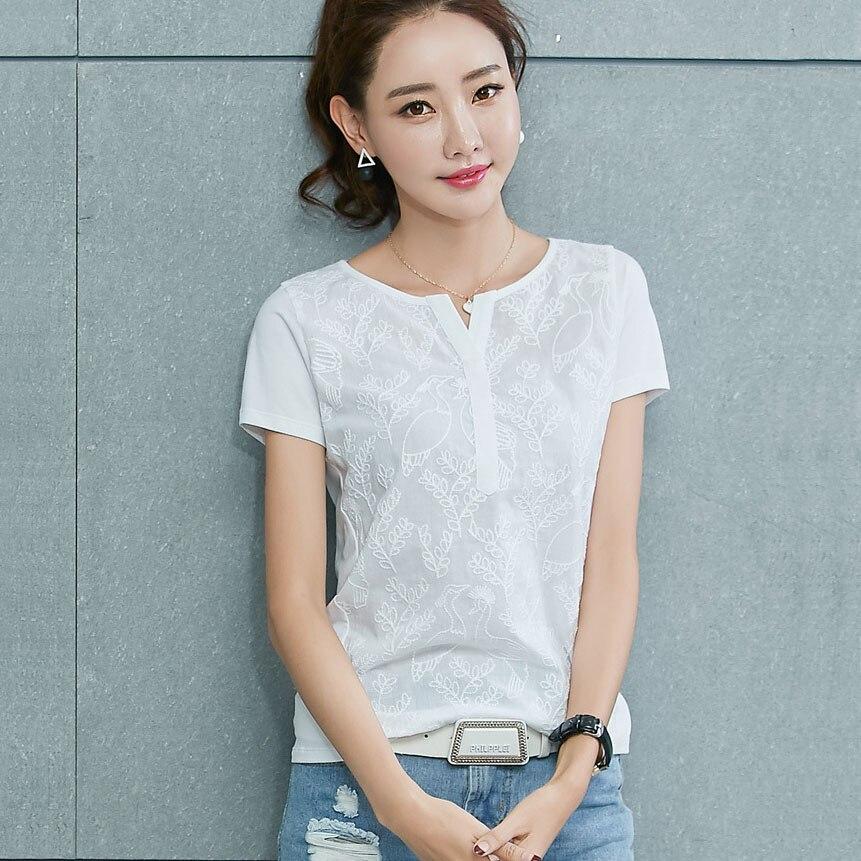 Embroidery T Shirt Women Clothes 20189 Camisas Femininas V-Neck T-Shirt Short Sleeve Tshirt Womens Tops Casual Tee Shirt Femme