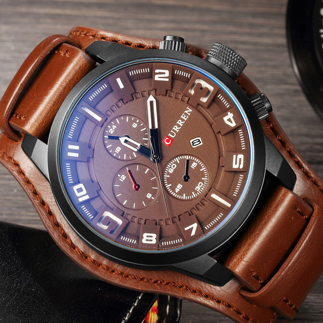 CURREN 2019 New Men Fashion Quartz Watches Men's Army Leather Sports Wrist Watch Military Date Male Clock Relogio Masculino 1