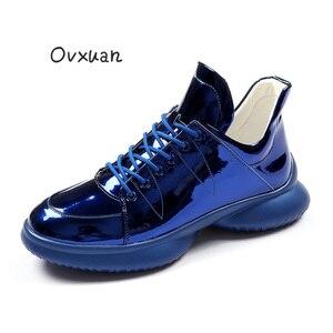 OVXUAN/синие кожаные повседневные ботильоны для мужчин; Удобные высокие мужские дизайнерские брендовые ботинки с полой подошвой; Кроссовки в ...