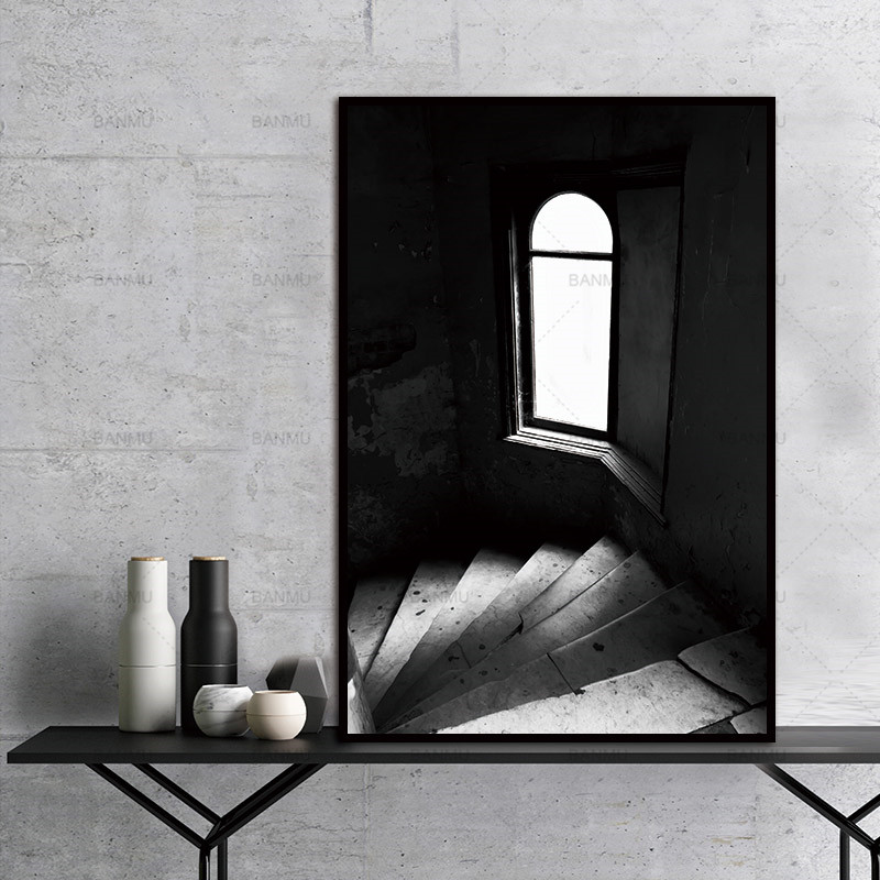 painting Canvas wall art Pictures print Wall print  home decor door Black and white picture window poster home decor