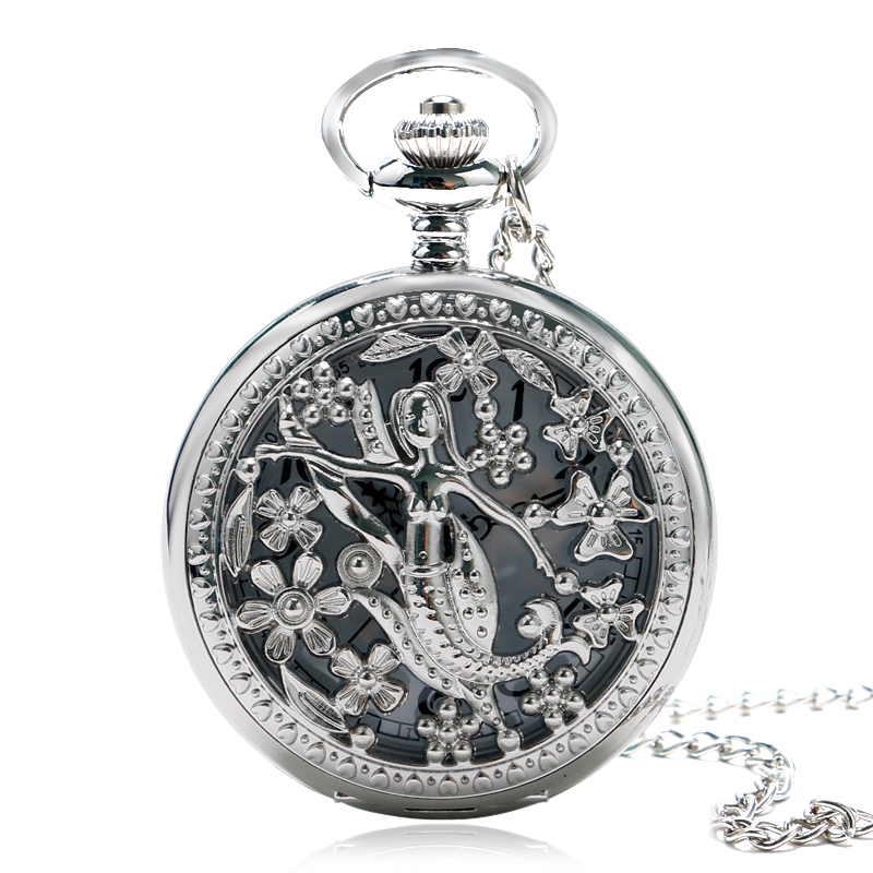 Classic Fashion Silver Hollow Mermaid Theme Pocket Watch With Necklace  Chain Best Gift For Women Ladies