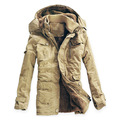 New Mens  Long 100% Cotton Thickhen Winter Snow Warm Coat,Hooded Faux Fur Parkas,4 Colors,Size M-5XL,AW1818,Free Ship