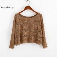 86e4a727ba 2016 Autumn Women Short Sweater Casual Lace Up Hollow Out Knit Sweater Crop  Top Long Sleeve. FELIZ BONITA do Outono Novas Mulheres Curto ...