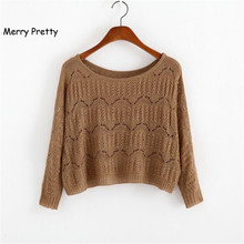 MERRY PRETTY Autumn New Women Short Sweater Casual Hollow Out Knitted Sweater Crop Top Long Sleeve  O-Neck Pullover Crop Sweater