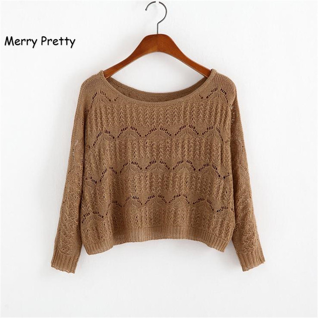 d1d38de5f0cf32 MERRY PRETTY Autumn New Women Short Sweater Casual Hollow Out Knitted  Sweater Crop Top Long Sleeve O-Neck Pullover Crop Sweater