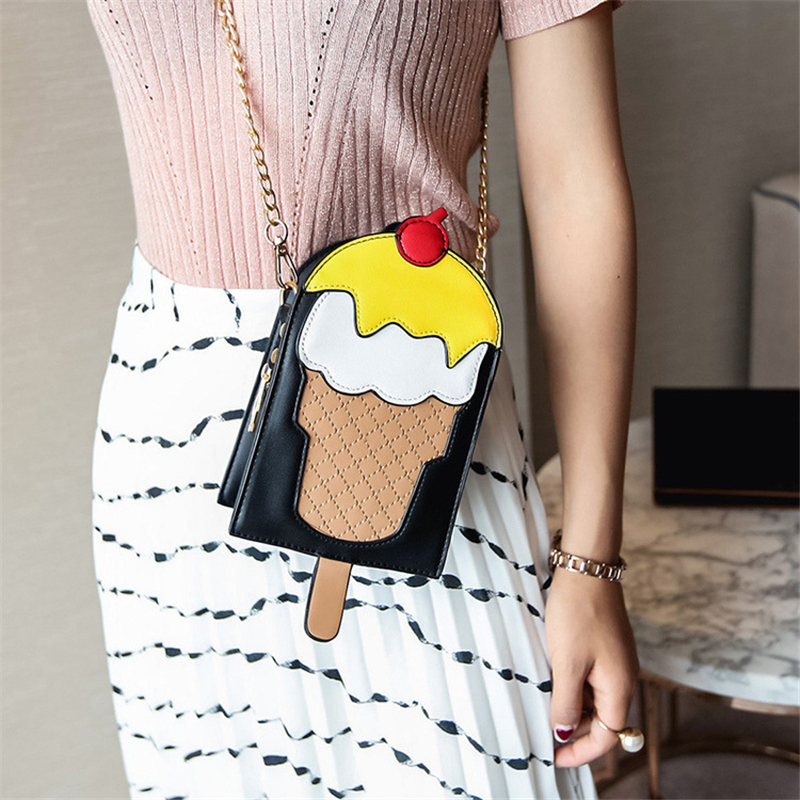 5bf92c5d0d CHAOLIUBANG Novelty women leather handbags personality ice cream shaped  mini crossbody bags summer phone shoulder purse sac a-in Shoulder Bags from  Luggage ...