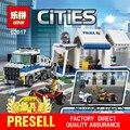 LEPIN 02017 374 Unids Serie de Policías de la Ciudad El Comando Móvil Del Coche Establece Niños Educativos Bloques de Construcción Ladrillos Juguetes 60139