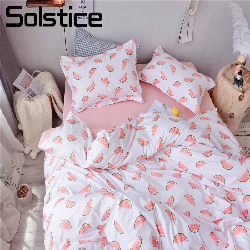 Solstice Home Textile Single Twin Queen Girls Kid Teen Bedding Set Watermelon Pink White Duvet Cover Pillowcase Sheet Bed Linens