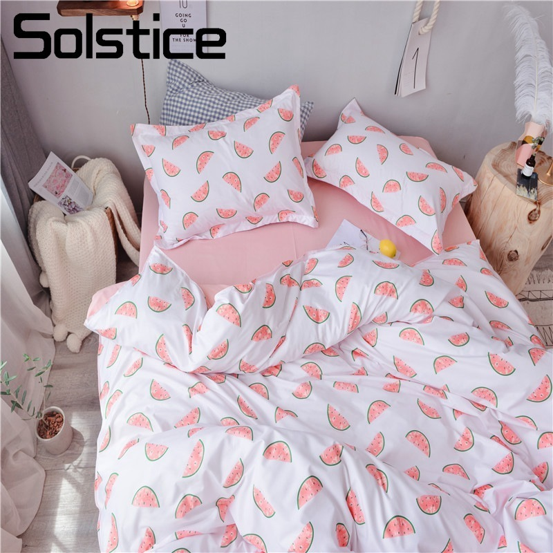 US Solstice Home Textile Single Twin Queen Girls Kid Teen Bedding Set Watermelon Pink White Duvet Cover Pillowcase Sheet Bed Linens In Bedding