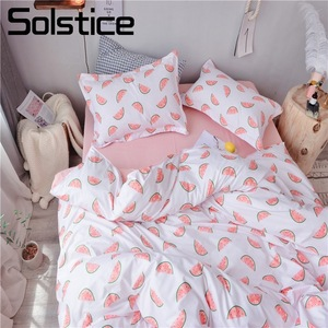 Solstice Home Textile Single Twin Queen Girls Kid Teen Bedding Set Watermelon Pink White Duvet Cover Pillowcase Sheet Bed Linens(China)