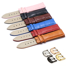12 14  16 18 19 20 21 22 24mm Genuine Leather Band Luxury Watch Belt Wrist Watches Ladies Red Black White