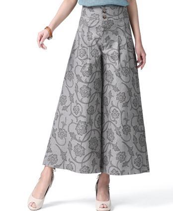 На лето и весну для женщин цветочный роспись широкие брюки свободные льняные мотобрюки, повседневное Высокая талия с цветочным Принто - Цвет: grey