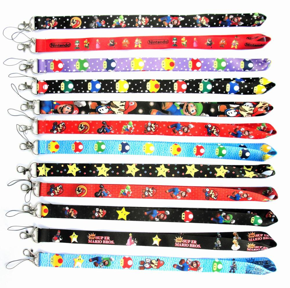 Free shipping 300 Pcs Wholesale lot Mix Super Mario Necklace Strap Lanyards Cell Phone PDA Key