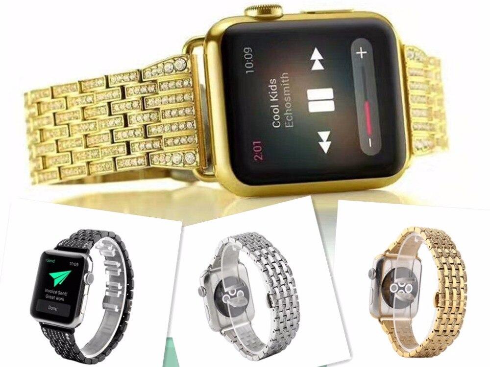 Luxury Crystal Rhinestone Diamond Watch Bands for Apple Watch Bands 38mm 42mm Series 1 Series 2 Crystal Shining Gold Strap watch crystal