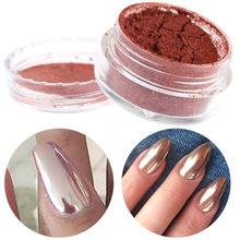 2 g/caixa New Shinning Ouro Rosa Espelho Prego Decoração de Unhas Pó Glitter Chrome Pó Nail Art Manicure Ferramentas de Beleza Hot(China (Mainland))