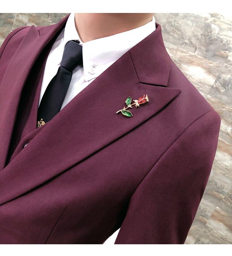 HighQuality Wine Red Men Blazer Slim Fit Casual British Style Gentlemen Suit Jacket Men Wedding Tuxedo Business Dress Blazer Men