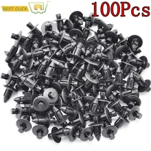 100 Pcs Car Fastener fit 7mm Dia Hole Black Push Retainer Rivets Clips for Toyota Automobile Door Bumper Fender Cover Trim Clip