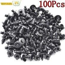 100 pçs fixador do carro caber 7mm diâmetro buraco preto push retentor rebites clipes para toyota automóvel porta pára-choques fender capa guarnição clipe