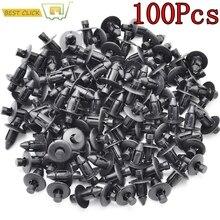100 pièces, Clips de fixation de voiture, Clip, trou de 7mm Dia, noir, Clip pour pare choc de porte dautomobile Toyota pince coupante