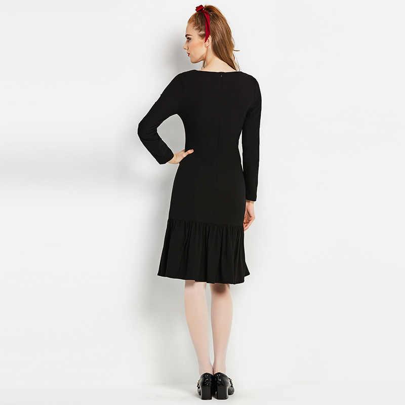 Sisjuly 60s vintage dresse estilos otoño mujeres Vestido de manga larga bowknot marca vestido mujeres sirena negro una línea vintage vestido