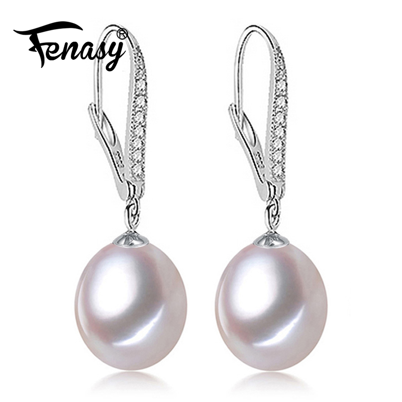 FENASY Pearl earring,  Pearl with 925 Sterling Silver earrings,wedding Birthday gift Jewelry Women fashion long earrings