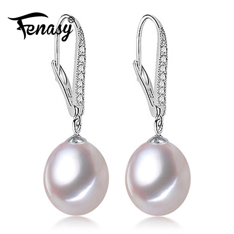 Vathë perlash FENASY, Pearl me 925 vathë prej argjendi të shkëlqyeshëm, martesë Dhuratë për ditëlindjen Bizhuteri Gratë modë vathë të gjata