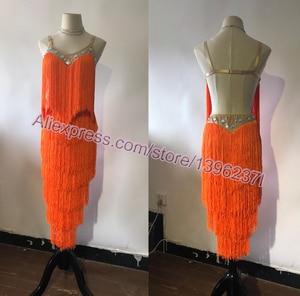 Image 5 - Latin Dance Dresses Women High Quality Customized Rumba Samba Dancing Skirt Lady Blue Tassel Latin Competition Dance Dress