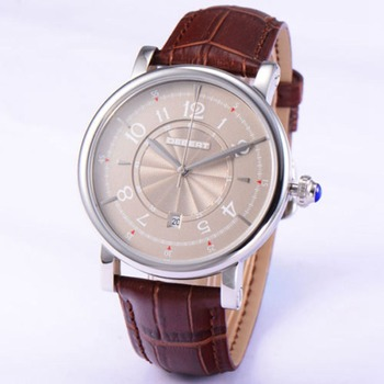 Debert 43mm fashion Gray Dial Mechanical clock male luxury top brand Leather Date Automatic men watches luxury top brand