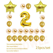 Two year old  Gold Balloon Champagne Number Birthday Balloons Party Decoration Happy Decor 001