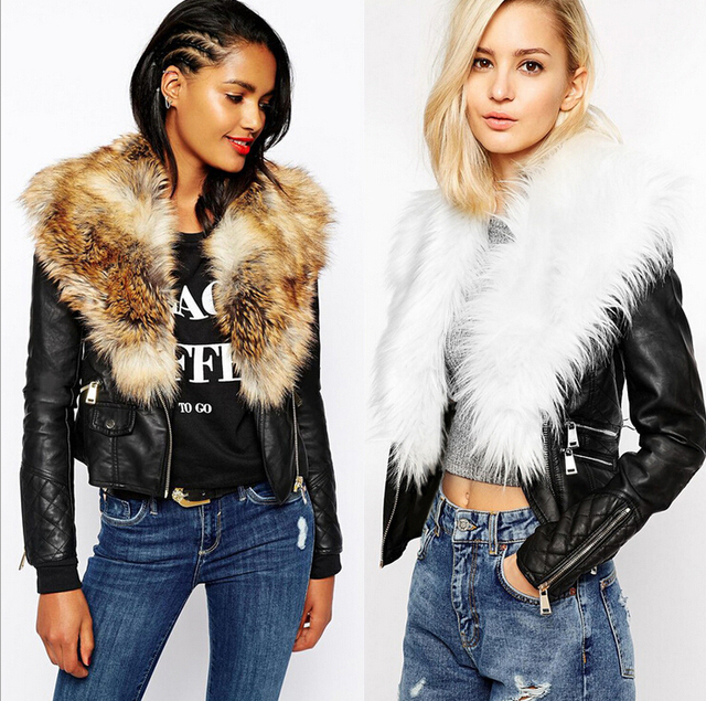 ad432169411 2016 Winter New women PU leather jackets Imitate Fur Large Fur Coat  Outerwear Female blue faux fur plus size casual overcoat 3XL