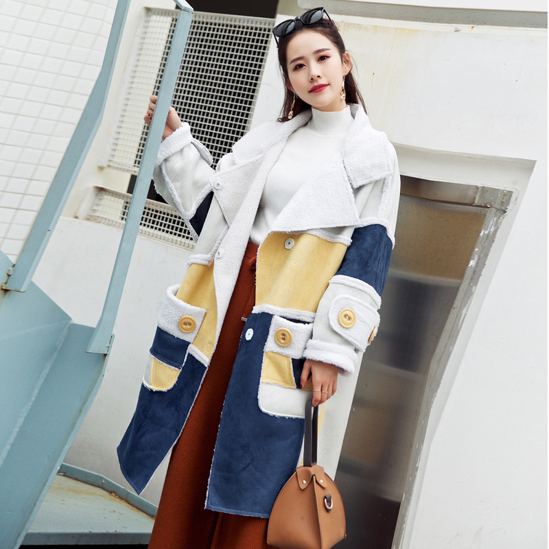 LANMREM 2018 Loose Fashion Turn-down Collar Windbreaker Full Sleeve Single-breasted Autumn Women Patchwork Clothes Coat BD247