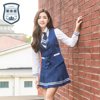 Brand LEHNO High Quality Girls School Uniform College Uniforms High School Fashion Students Suit Shirt+Vest+Skirt+Tie 4pcs Set