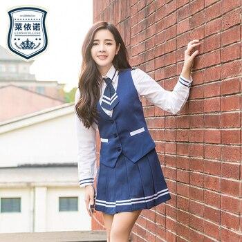 Marca lehno alta calidad Niñas uniforme escolar uniformes moda de alta  escuela estudiantes traje Camisa + chaleco + falda + lazo 4 unids conjunto ef54e745eeae9