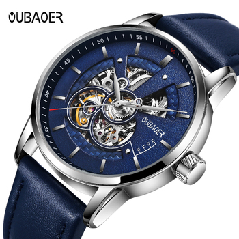 Men's watches OUBAOER automatic mechanical watch leather clock casual business top brand sports relogio masculino - discount item  91% OFF Men's Watches