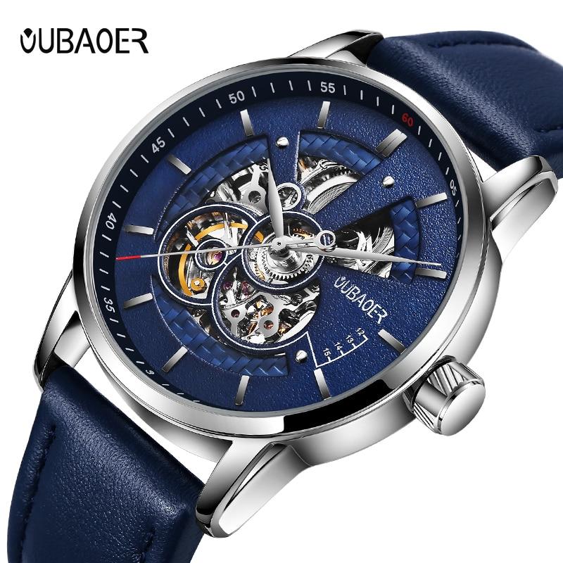 Relógios masculinos oubaoer relógio mecânico automático relógio de couro relógio de negócios casual marca superior relógio esportivo relogio masculino