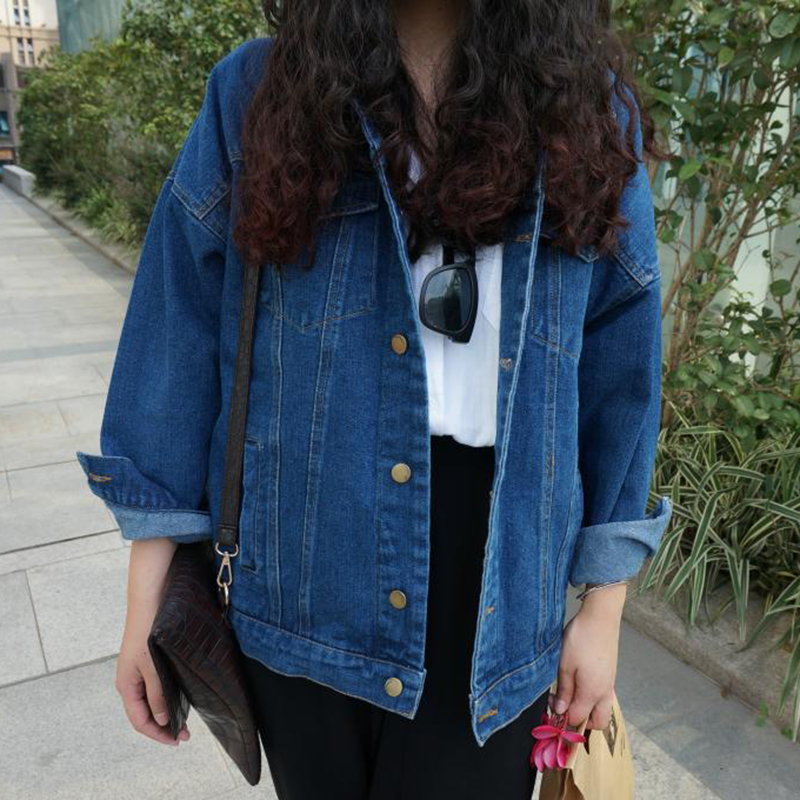 Loose Casual Autumn Denim   Jacket   Buttom Coat Women Long Sleeve   Basic     Jackets   Spring Female Cotton Coats Outwear KLD1169