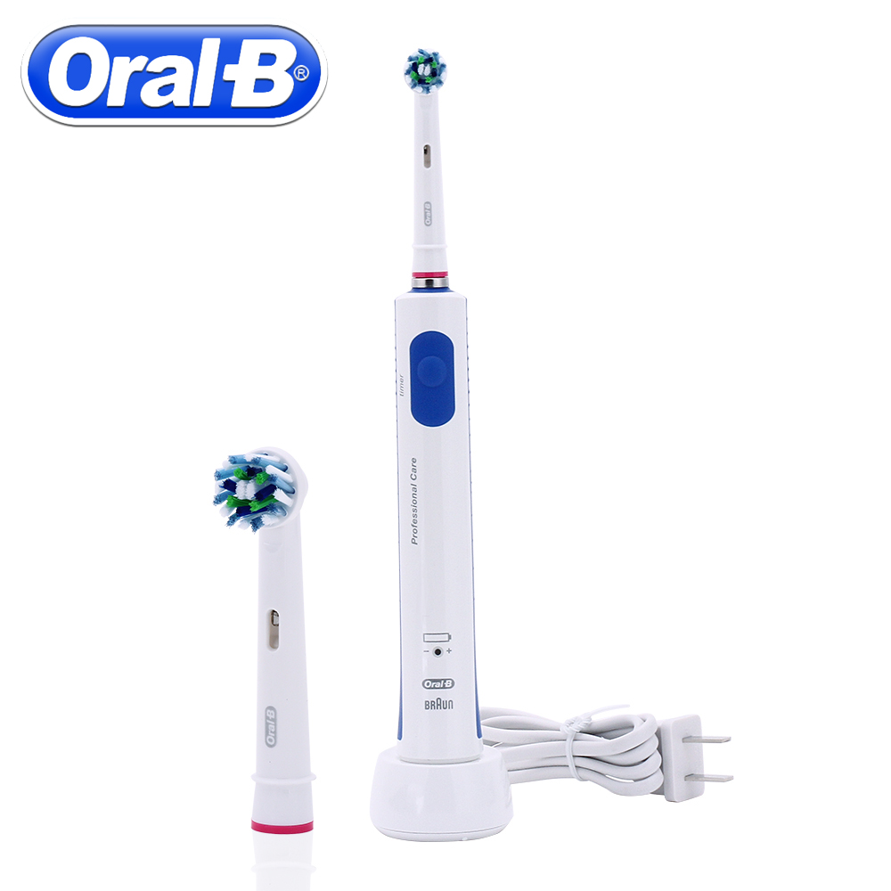 Image 3 - Oral B Rechargeable Electric Toothbrush PRO600 Plus 3D Cross Action Teeth Whitening Rotating Ultrasonic Electric Toothes Brush-in Electric Toothbrushes from Home Appliances