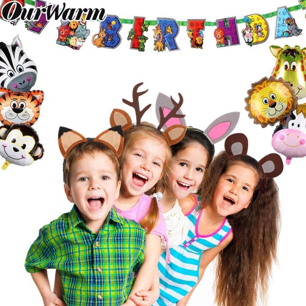 OurWarm Lovely Cartoon Animal Headband High Quality Felt Headbands Woodland Jungle Party Decoration Kids Birthday Party Headband in Party DIY Decorations from Home Garden