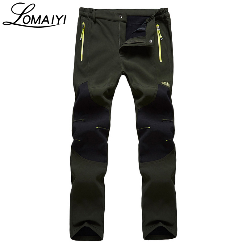 cf00811ef3106 LOMAIYI Men's Winter Casual Pants With Zipper Pockets Breathable Fleece  Lining Windproof Trousers Thick Thermal Men Pants,AM199-in Casual Pants  from Men's ...