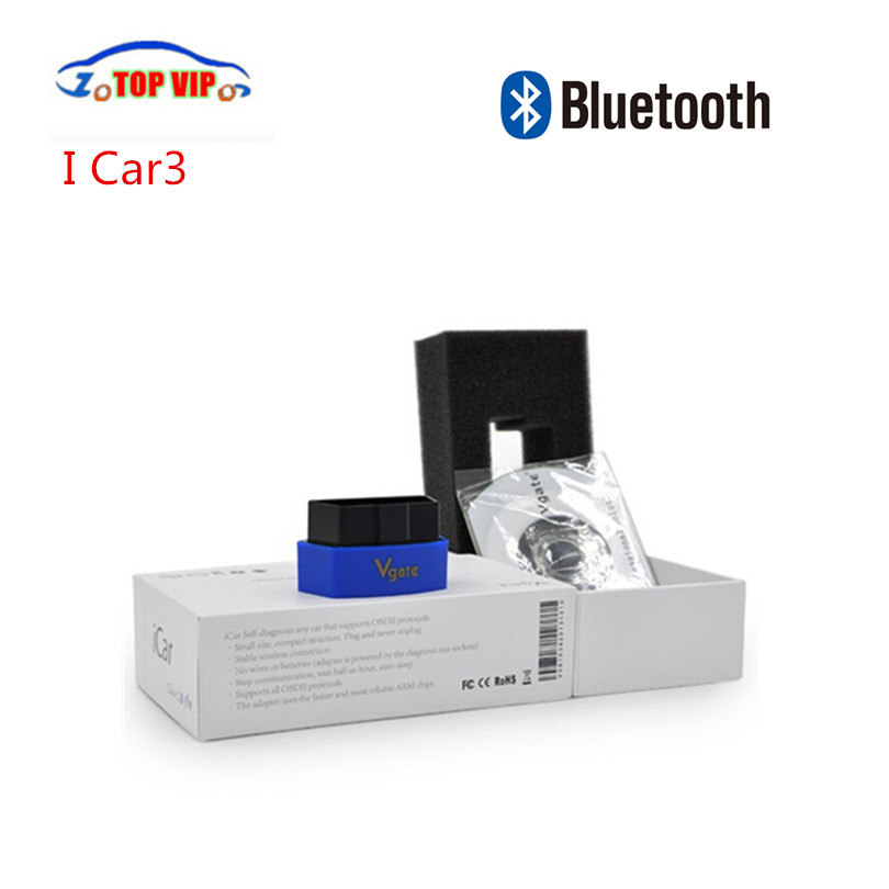 10 PCS/LOT ELM327 Vgate Icar3 Bluetooth OBD2 Scanner Icar Elm 327 Bluetooth OBD2 De Diagnostic-Outil Soutien Android Expédition Rapide