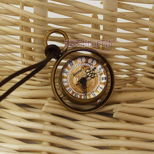 Vintage Crystal Ball Pocket Watch With Brown PU Chain Quartz Movt Roman Num. New IW1743