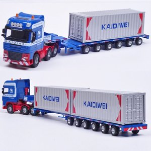 Image 2 - Alloy Diecast 1:50 Low Bed Transporter Container /Reach Stacker /Front Trolley Truck Rubber Tire Vehicles Model Kids Gift Toys
