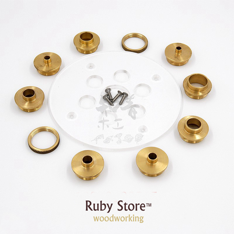 Set Of Round Base Plate + 10PCS Brass Router Template Guide Bushings