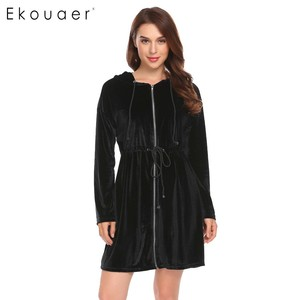 Image 3 - Ekouaer Women Robe Kimono Long Sleeve Velvet Hooded Solid Bathrobes Nighties Sleepwear Robe Dressing Gown Female Nightwear