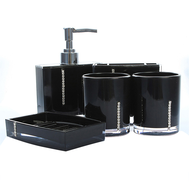 5 piece bathroom bath toilet accessories set soap for Black bath accessories sets
