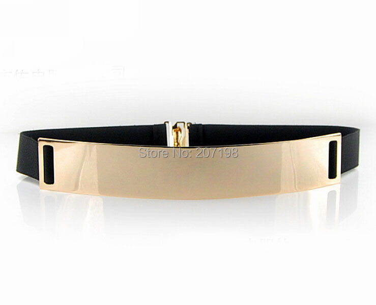 Stylish Lady Gold Metal Plated Elastic Stretch Belt 4X25cm Shinny Keeper Hook & Popper Closure For Summer Dress European Style