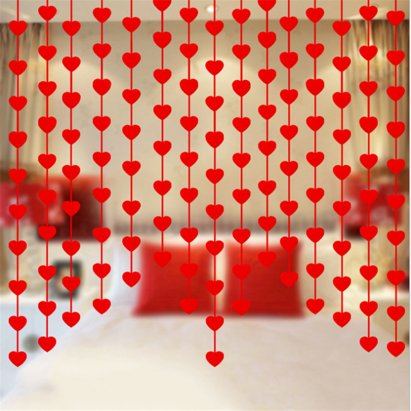 1sets(16pcs Love) 3M Non-woven Garland Heart Garland Curtain with Red Rope DIY Party Decoration Wedding Decoration Home Decor-S