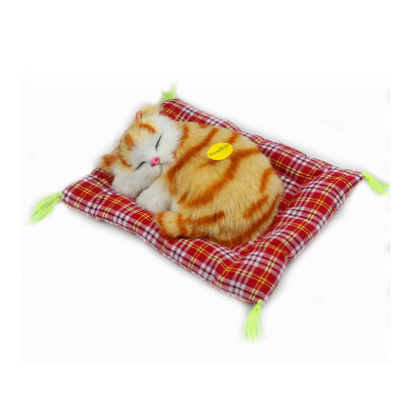 Stuffed Toys Lovely Simulation Animal Appeased Doll Plush Sleeping Cats Toy With Sound For Kids Toy Birthday Gift Doll Toys