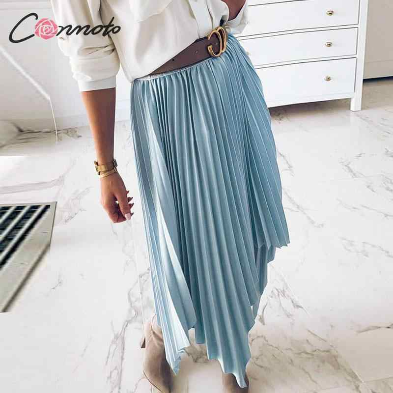 Conmoto 2019 solide rose jupes d'hiver femmes plissée femme Chic jupe Streetwear taille haute jupes Mujer grande taille